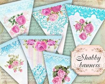 Romantic Shabby Chic Banner Scrapbook Printable  - set of 3 sheets (426) Buy 3 - get 1 bonus