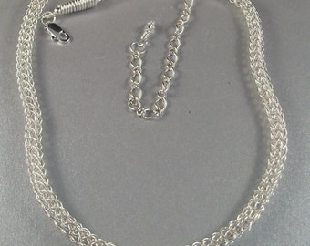 Silver Viking Knit Chain Necklace in Three Different Lengths, 16 Inches, 18 Inches or 22 Inches with an Attached or Detached Chain Extender
