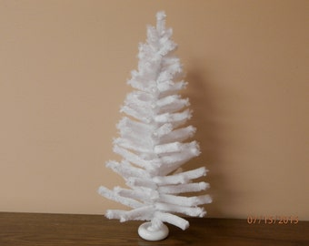 14 inch tabletop white chenille Christmas tree
