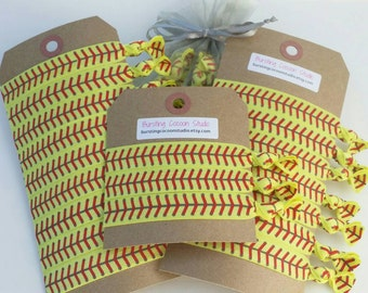 softball hair ties, set of hairties, elastic ponytail holders, red laces print, fastpitch yellow sports gift, goody bag stuffer, party favor