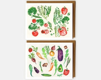Card for Foodie, Eat Your Veggies, Blank Card, Watercolor Veggie, Veggies, Farmers Market, Card for Vegetarian, Peas in a Pod, Italian, Veg