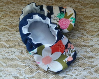 Handmade baby shoes, Soft sole shoes, baby booties, baby slippers--Navy Floral Stripes