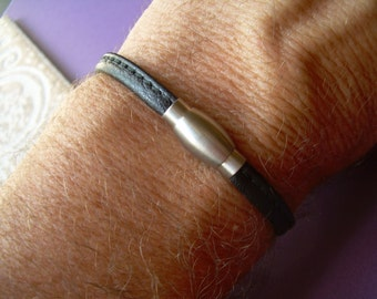 Black Nappa Leather Bracelet with a Stainless Steel Magnetic Clasp,Mens Bracelet,Leather Bracelet,Womens Bracelet, For Him, Mens Jewelry,