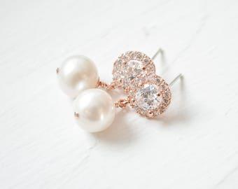 Bridal Earrings Rose Gold, Wedding Earrings Rose Gold, Pearl Rose Gold Drop Earrings