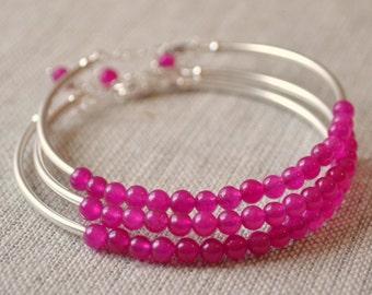 Bridesmaid Jewelry, Sangria, Sterling Silver, Fuchsia Jade, Hot Pink, Raspberry, Magenta, Beaded Bangles, Adjustable Length, Set of 3