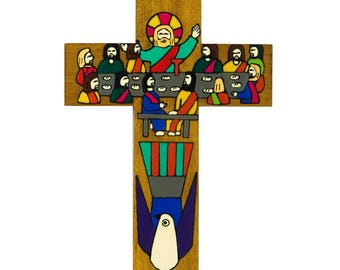 """6"""" (15 cms) First Holy Communion Cross. Hand made and painted cross. A perfect First Holy Communion Present. Holy Communion Day gift."""