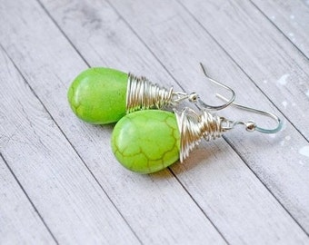 Lime Green Turquoise Earrings, Bright Lime Vibrant Green Wire Wrapped Teardrops, Faux Turquoise Drops