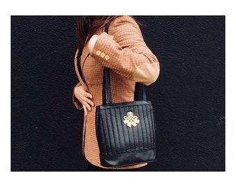 Vintage 80's Black & Gold Bucket Bag