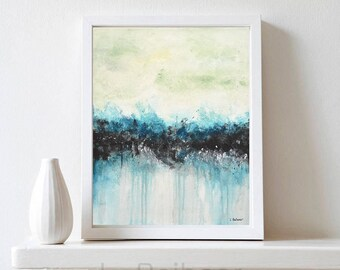 Blue black abstract painting original modern art pouring painting contemporary wall art home decor oil painting dripping interior design