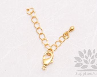B005-MG// [NEW] Matt Gold Plated Lobster and Extension Set, 6 sets