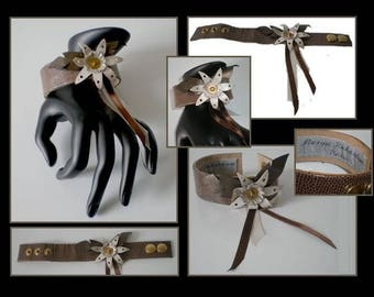Bracelet designer flowers double leather brown leather
