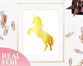 Unicorn Gold Foil Print Real, Genuine, Home Decor, House, Office, Wall Art, Gallery, Wall Print, Poster, Living Room, Nursery, 5x7, 8x10