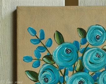 Original Still Life Acrylic Painting on Canvas - Old Blue Roses in White Ironstone Vase - Lana Manis