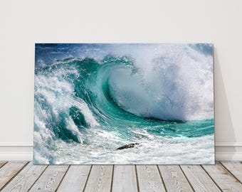 Ocean waves canvas Sea and water.  Canvas Print beach seascape water. Ideal gift birthday present