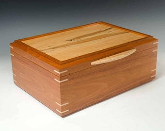 Handcrafted Mahogany Jewelry Box with Spalted Maple Lid