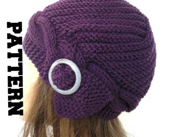 Cable Knit hat  Pattern Instant Download Knit hat pattern- Digital  Hat Knitting PATTERN PDF  - Cloche Hat Knit Pattern