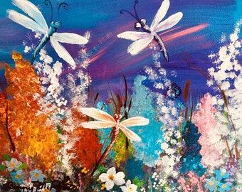 Dance of the Dragonflies Original Framed Acrylic Fine Art