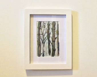 Watercolor, trees, woods, painting, framed