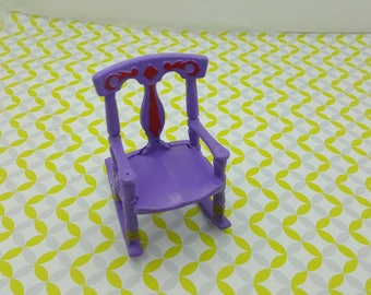 Renwal style  Rocking Chair Baby Nursery Doll House Toy Purple
