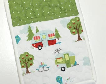 Camper Pocket Pot holder Glamping Camping Handmade Quilted Pink Red  RV