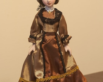 """SALE Porcelain doll 7.5"""". Anna Osores. Ladies Epoch. Collection porcelain dolls. New in the box"""