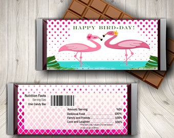 Flamingo Candy Bar Wrapper, Flamingo Birthday Party, Flamingo Pool Party, Tropical Party, Summer Printable, Party Favors