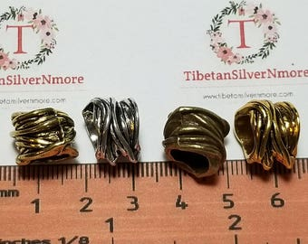 6 pcs per pack 13x11mm thickness 4.25mm diameter sagging textured Large Hole Beads in color to choose Lead Free Pewter