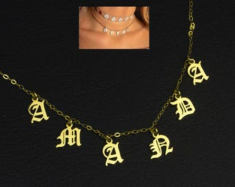 Name Choker Necklace, Gothic Choker Necklace, Personalized Choker Necklace, Gold Choker Neckalce, Name Plate Choker, Custom Choker Jewelry