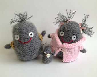 PDF amigurumi crochet and knitting pattern for Dusty, Floss, Fuzz, bag and jacket.