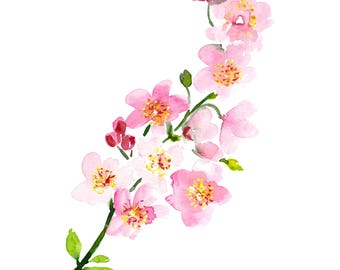 Cherry Blossom Art, Watercolor Cherry Blossoms, Inspirational Art, Pink Nursery art, cherry tree painting, 11x14, From small beginnings