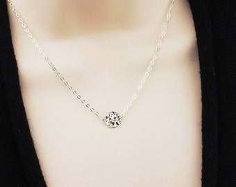 Dainty Necklace Silver Hammered Disc Necklace - Everyday Necklace - Layering Necklace - Best Friend Gift
