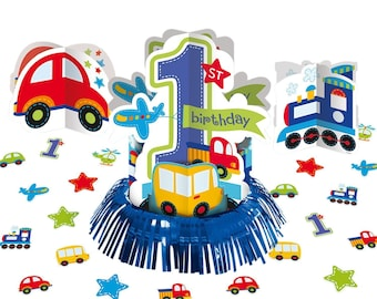 23 Pc All Aboard Adorable Table Decorating Kit  - Fun Colorful Transportation Theme Centerpiece - Birthday Boy - 1st Birthday