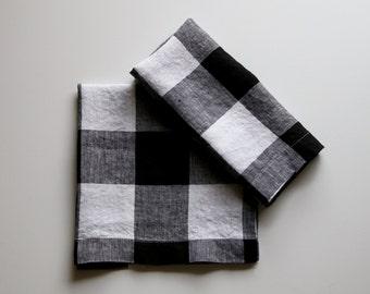 Linen Napkins Black and White Check (Set of 6)