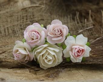 Pink & Ivory Rose Hair Pieces, Paper Flower Hair Pins , Bridal Hair Pins, Wedding Rose Hair Bobby Pins,Bridal Hair Accessories (FL393)