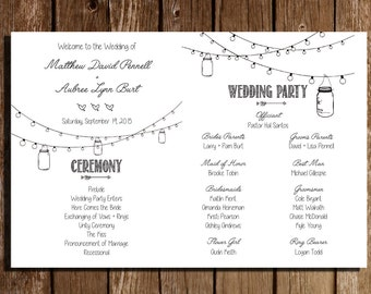 "Printable Wedding Programs/ Mason Jars/ Rustic/ Fan Program/ 5"" x 7"""