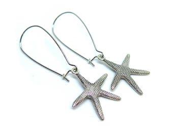 Starfish Silver Kidney Wire Earrings
