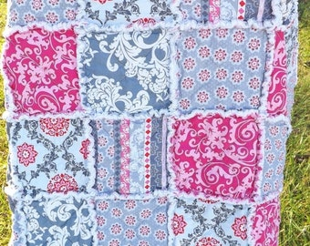 On Sale Pink and Gray Rag Quilt - Lap Rag Quilt - Modern Fabrics - Gift for Her