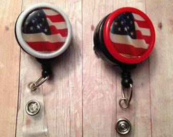 Patriotic themed badge reel -- show your love of the United States while wearing your ID