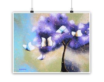 Ultra Violet Home Decor, Whimsical Tree of Life Art Print, Inspirational Wall Art, Purple Bedroom Decor