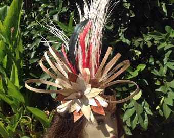 Simple & Beautiful Headpiece. Authentic Tapa Cloth, Hala Leaf, Niau Headpiece! Perfect For Children And Adult.