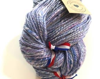Fine hand spun and hand dyed Merino, Tussah silk and viscose art yarn with angelina glitters 103 gram