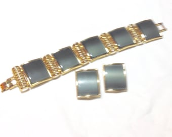 Vintage Dark Gray Link Bracelet with Clip Earrings