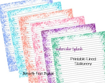 Printable Lined Stationery, Art Journal Pages, Set of Six, Watercolor Splash, Letter size, 8.5 x 11 inch JPG, Instant Digital Download.