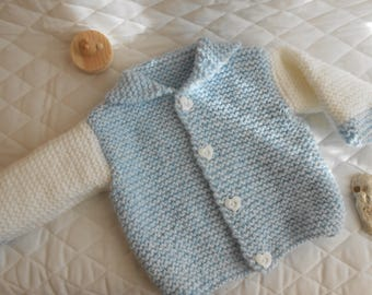 light blue Heather and white vest