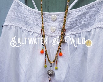 Long boho necklace, beachy, forest inspired