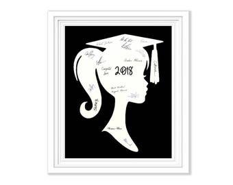 Graduation Guest Book Signature Alternative Girl Silhouette Memory Keepsake To Frame Wall Art Party Guestbook 2018 Graduation Decoration
