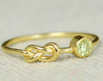 Peridot Infinity Ring, Gold Filled Ring, Stackable Rings, Mother's Ring, August Birthstone Ring, Gold Infinity Ring, Gold Knot Ring