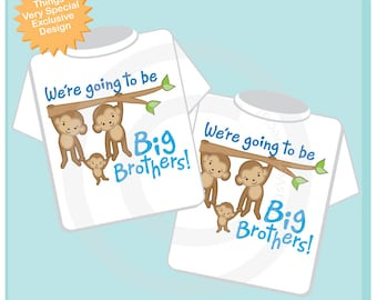Sibling Shirt Matching Set of Two, We're going to be big brothers Monkey design for twin boys getting a new baby in the family. (10292013a)