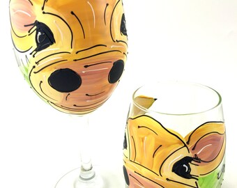 Elsie the Cow Wine Glass or Stemless Wine Glass - Hand Painted Wine Glass