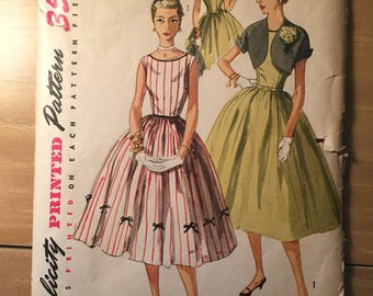"""Simplicity Dress and Bolero Pattern #4250 Vintage 1950's - NC - Incomplete - Size 11 Bust 29"""" - 50s Simplicity / 1950s Blouse /"""